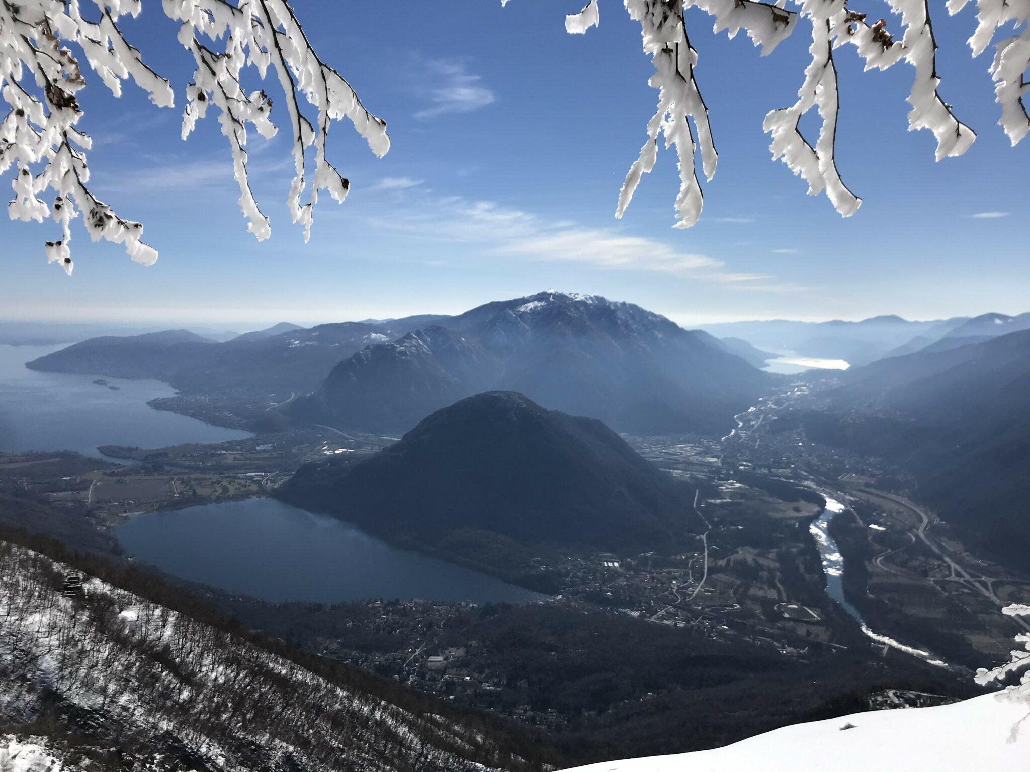 View from Monte Faie on Lago Maggiore, Lago di Merluzzo and Lago d'Orta