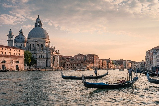 View of Venice with gondolas